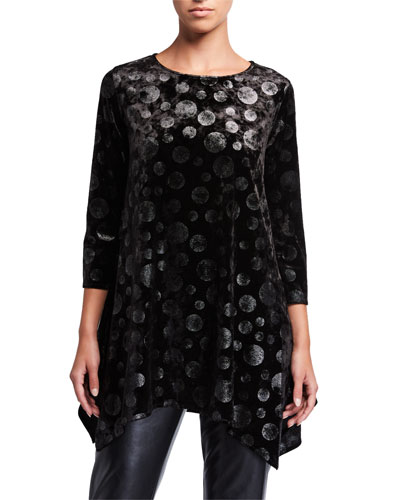 Plus Size Lunar Velvet Dot Swing Tunic