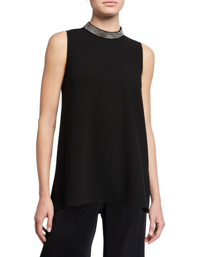 Philipa Finesse Crepe Sleeveless Blouse w/ Beaded Collar