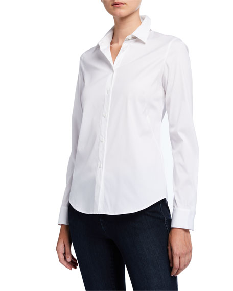 Lafayette 148 New York Montego Italian Stretch Cotton Button-Down Blouse w/ Chain
