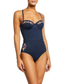 Johnny Was Golda Corset One-Piece Swimsuit
