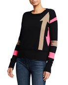 Lisa Todd Arrow Intarsia Crewneck Cotton-Blend Sweater w/