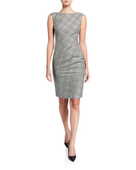 Lafayette 148 New York Della Houndstooth Plaid Sleeveless Sheath Dress