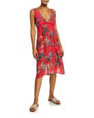 Johnny Was Malakye Floral Sleeveless Flowy Coverup Dress