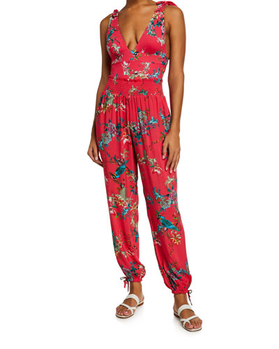 Malakye Smocked Floral Coverup Joggers