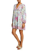 Johnny Was Belladonna Floral Long-Sleeve Coverup Sun Dress