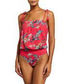 Johnny Was Malakye Floral Blouson One-Piece Bandeau Swimsuit