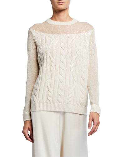 Cable Knit Cashmere Sweater with Sequins