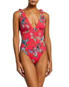 Johnny Was Malakye Tie-Strap Floral One-Piece Swimsuit
