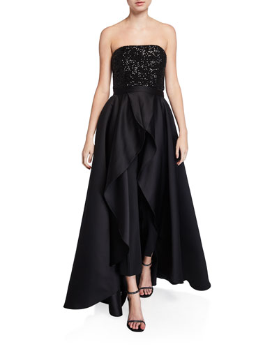 Egan Sequin Strapless Combo Jumpsuit with Satin Overskirt