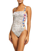 Johnny Was Oksana Mixed Print Ruched One-Piece Swimsuit