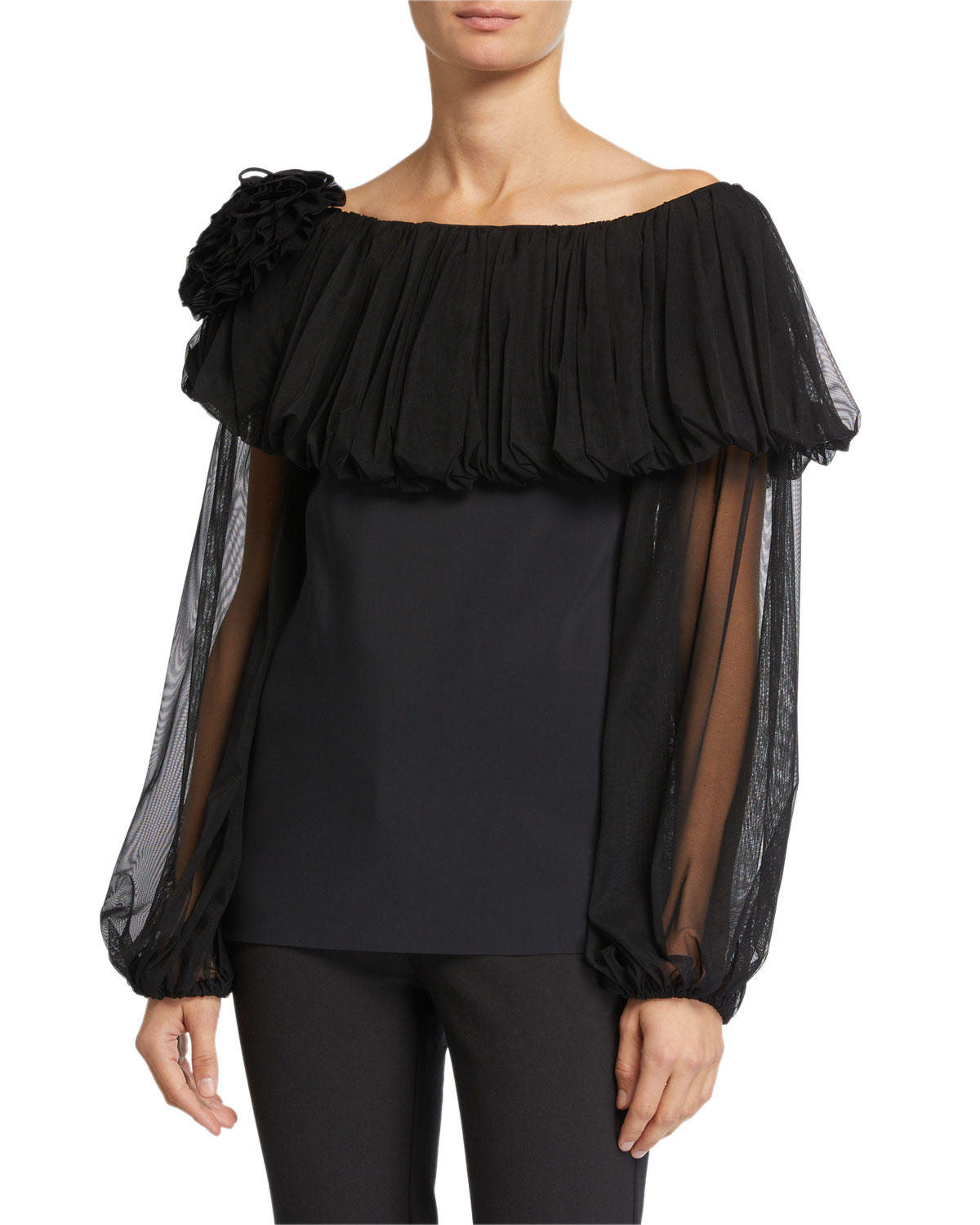 Chiara Boni La Petite Robe Tops LEANDRA OFF-THE-SHOULDER POPOVER ILLUSION BLOUSE