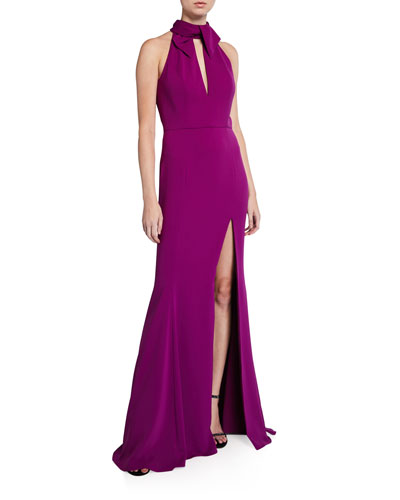 Keyhole Stretch Crepe Halter Gown with Slit