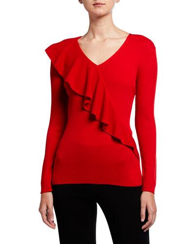 V-Neck Italian Merino Wool/Silk Ruffle Sweater