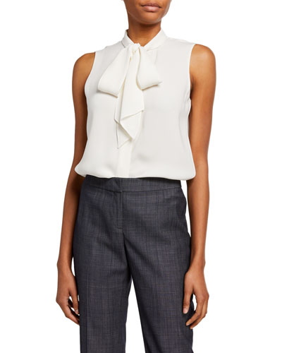 Joel Silk Double Georgette Tie-Neck Sleeveless Blouse