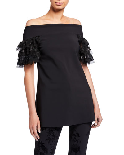 Danica Off-the-Shoulder Illusion Sparkle Ruffle-Sleeve Top