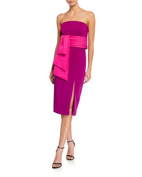 Jay Godfrey Kia Strapless High Slit Stretch Crepe Dress with Removable Belt