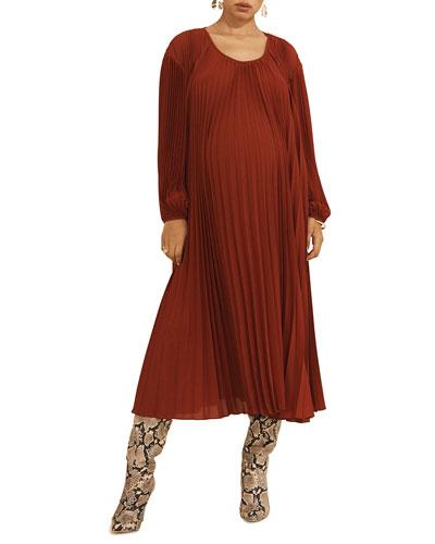 Maternity Juno Scoop-Neck Long-Sleeve Pleated Dress