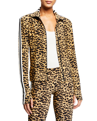Leopard-Print Side Stripe Turtleneck Jacket