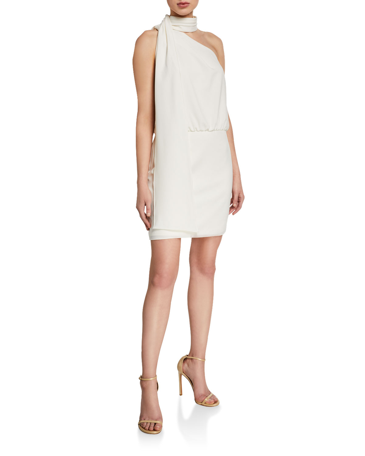 Halston Dresses SCARF NECK SLEEVELESS COCKTAIL DRESS