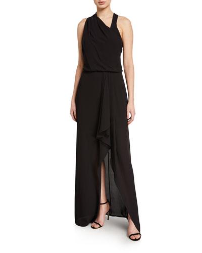 Asymmetric Draped High-Low Halter Gown