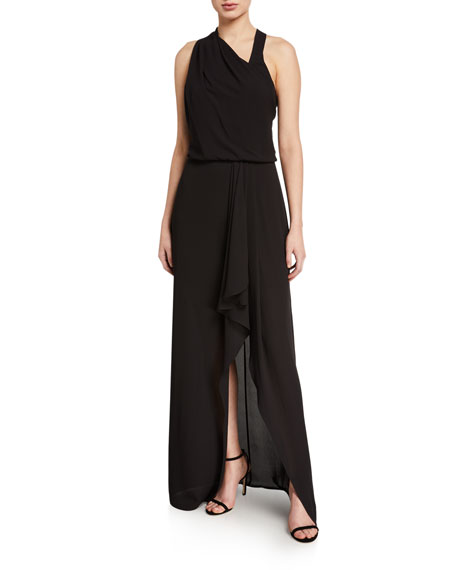 Halston Asymmetric Draped High-Low Halter Gown