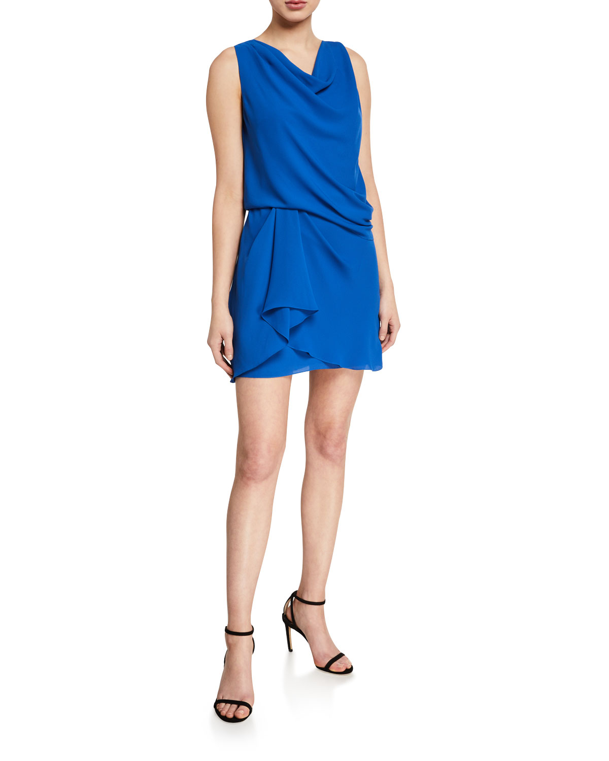 Halston Dresses COWL-NECK SLEEVELESS DRAPED DRESS