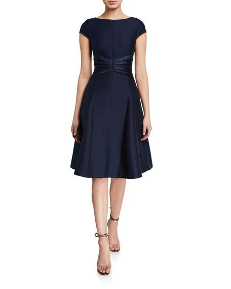 Halston Bateau-Neck Cap-Sleeve Satin Insert Fit-&-Flare Dress