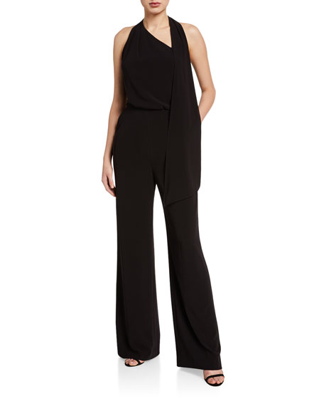Halston Scarf-Neck Sleeveless Jumpsuit