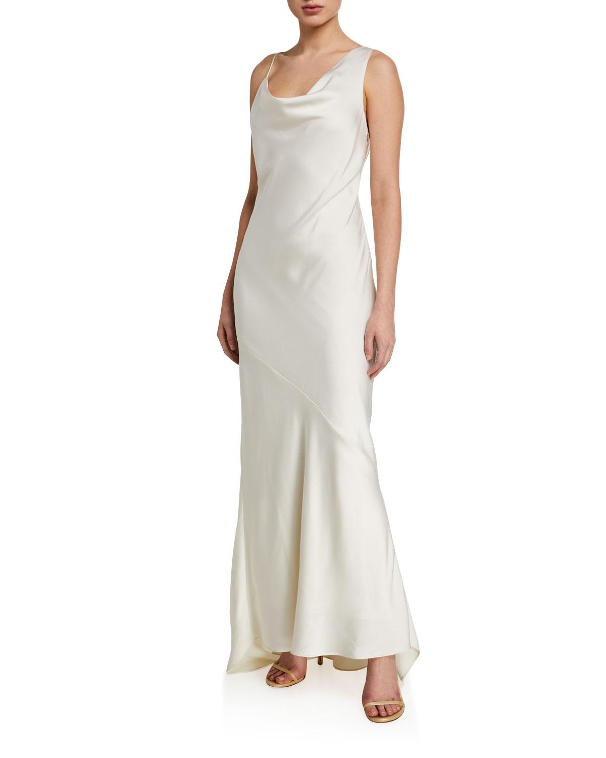 Halston Tops ASYMMETRIC SATIN SLIP GOWN