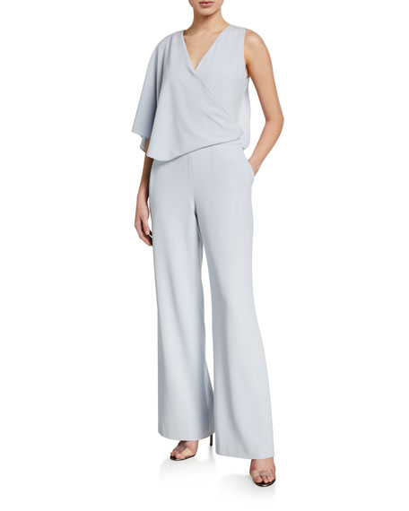 Halston Asymmetric Cape Jumpsuit