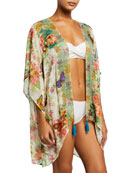 Johnny Was Holly Printed Silk Short Kimono Coverup