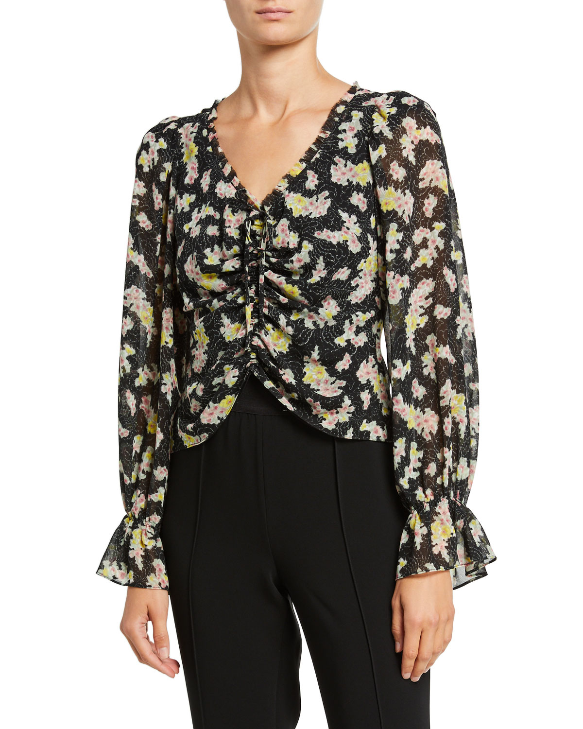Cinq À Sept Tops KIMBERLY RUCHED LONG-SLEEVE TOP