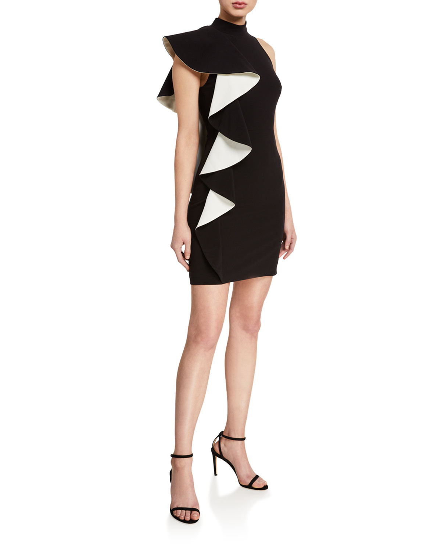 Halston Dresses MOCK-NECK CONTRAST FLOUNCE CREPE DRESS