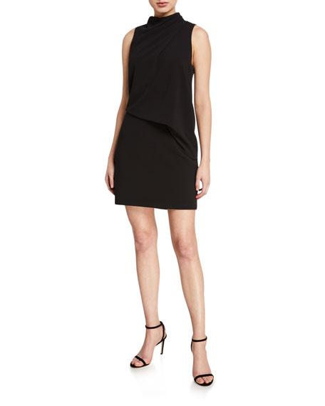 Halston Mock-Neck Sleeveless Mini Dress