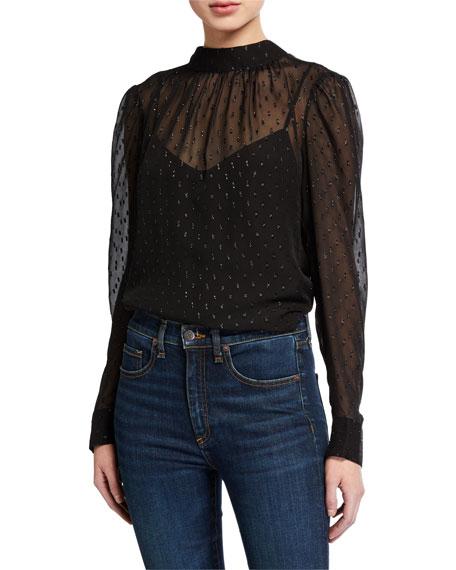 Veronica Beard Melling Embellished Silk Long-Sleeve Top