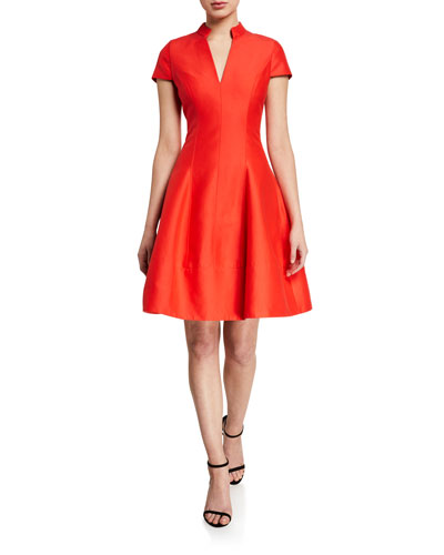V-Neck Cap-Sleeve Silk Faille Dress w/ Mandarin Collar