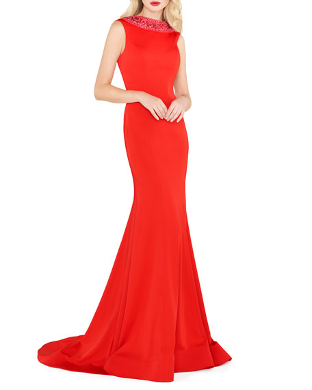 Mac Duggal Embellished Collar Sleeveless Fitted Jersey Gown