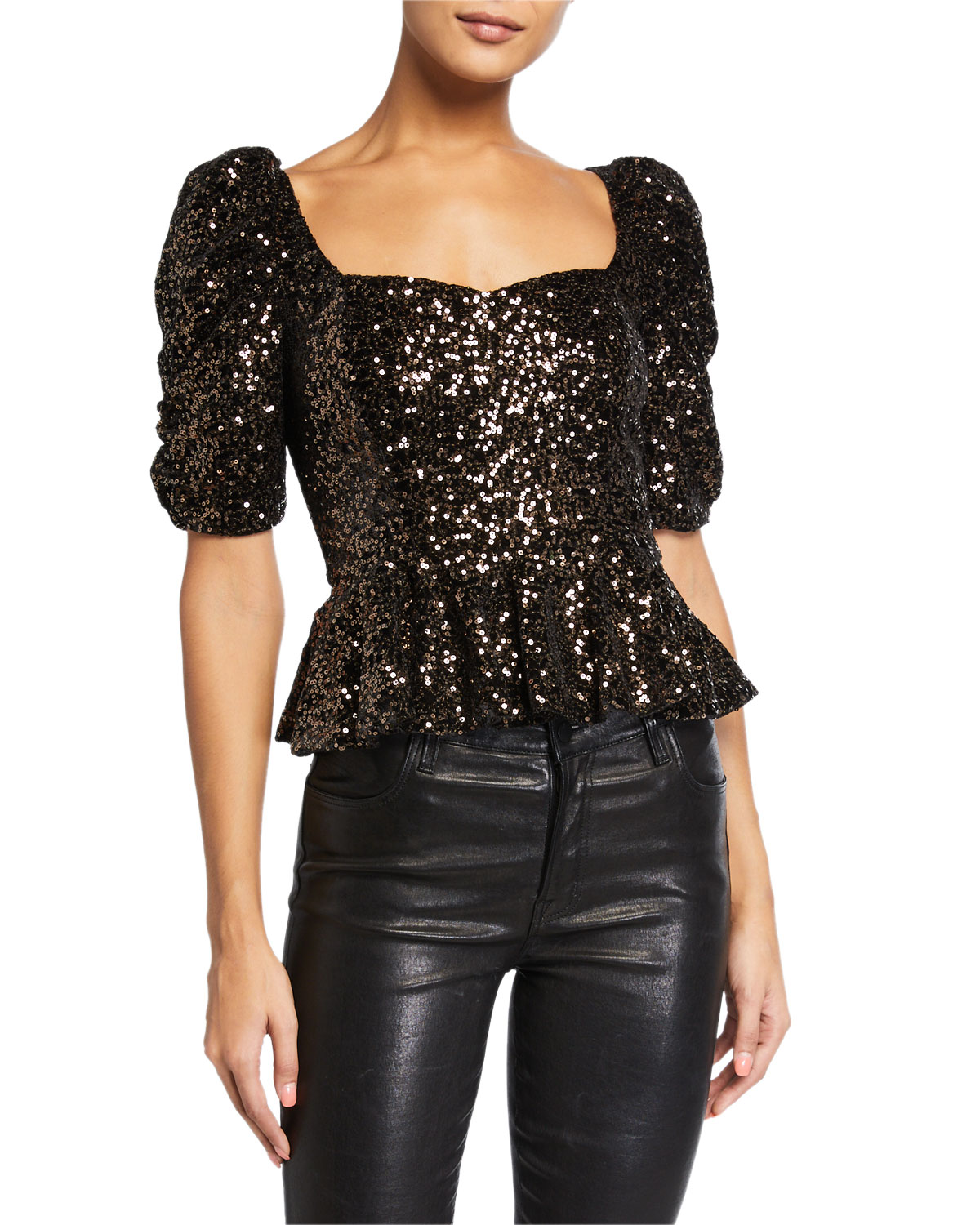 Amanda Uprichard Tops NATASHA SEQUIN TOP