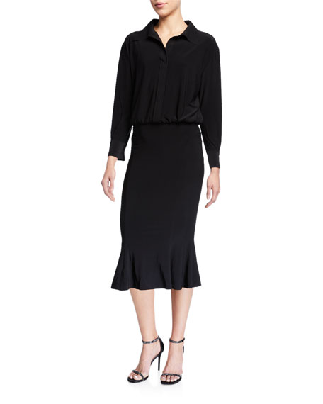 Norma Kamali Boyfriend Long-Sleeve Fishtail Hem Shirtdress