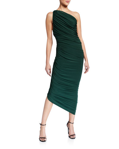 Diana Ruched One-Shoulder Asymmetric Gown