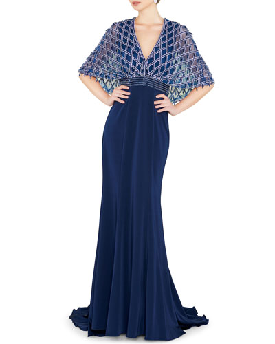 V-Neck Short-Sleeve Embellished Cape Gown with Crepe Skirt