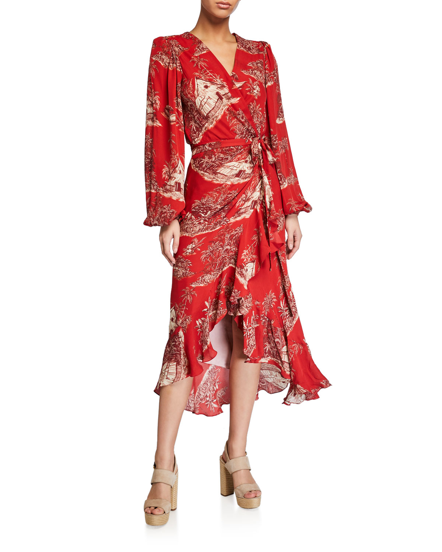 Johanna Ortiz Dresses CUANDO EL RIO SUENA PRINTED WRAP DRESS