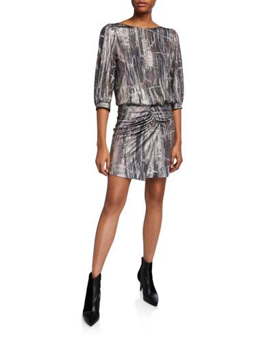 Salina Open-Back Metallic Gathered Dress