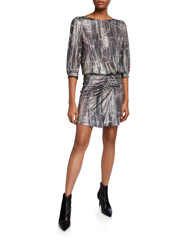 Ba&sh Dresses SALINA OPEN-BACK METALLIC GATHERED DRESS