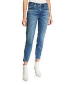 AMO Denim Mid-Rise Twisted Seam Ankle Skinny Jeans