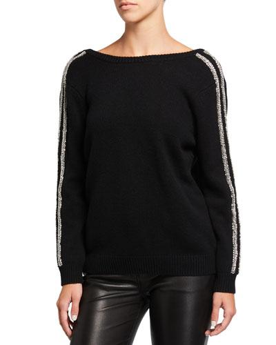 Delhia Embellished V-Back Sweater