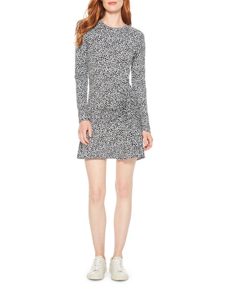 Parker Rhea Printed Long-Sleeve Ruched Flounce Dress