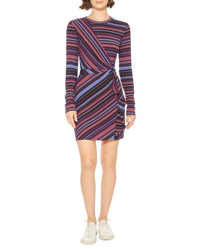 Kade Mixed-Stripe Long-Sleeve Short Dress