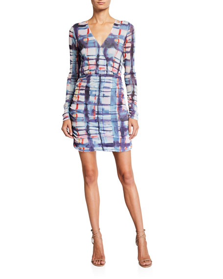 Parker Mildura Ruched Long-Sleeve Printed Dress