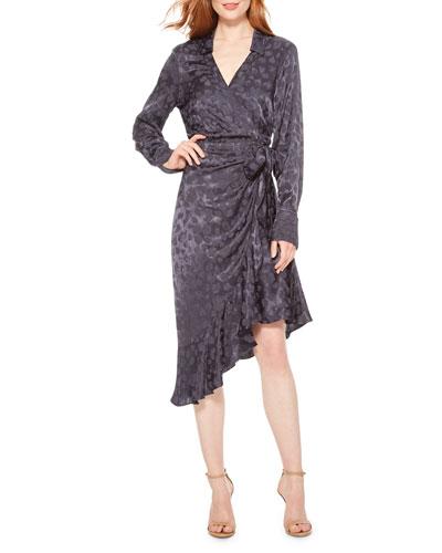 Marin Long-Sleeve Jacquard Wrap Dress